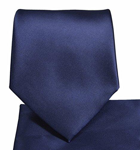 Set Necktie Handkerchief - Oliver George Solid Necktie Set (navy) #1010-K