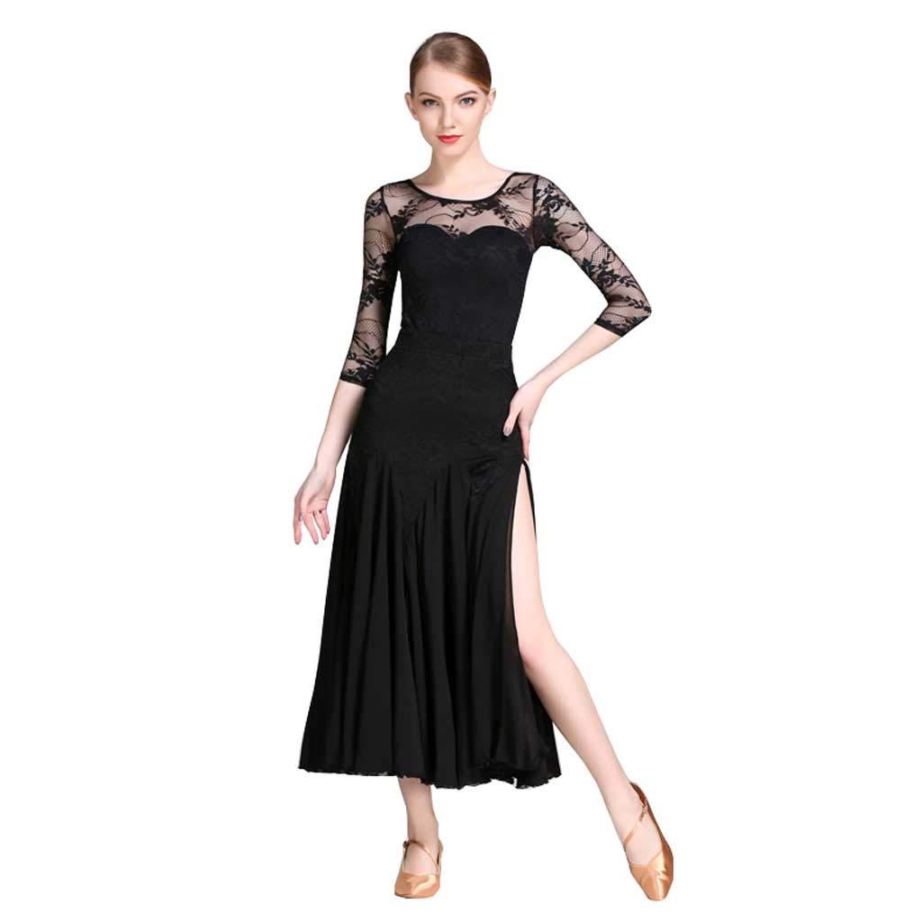 人気激安 大人のモダンダンス服、国家標準ダンススカートセットスプリットビッグスイングスカート s S B07FS89X58 ブラック S s ブラック ブラック S s, オートパーツエージェンシー2号店:c7dce9c7 --- nobumedia.com