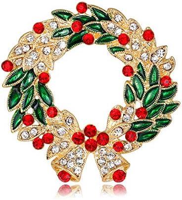 クリスマス ブローチ ガーランド 胸飾り バッジ ピンブローチ 卒業式 合金 贅沢 ファッション ラインストーン 輝く プレゼント