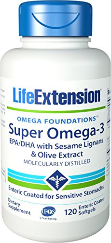 Life Extension Super Omega-3 EPA/DHA w/Sesame Lignans & Olive Extract Exteric Coated 120 - 120 Extract Softgels