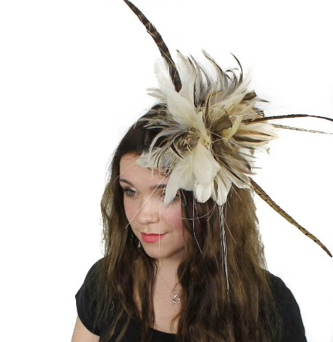 Hats By Cressida Brown/Mink Feather Kentucky Derby Fascinator Hat With Headband by Hats By Cressida
