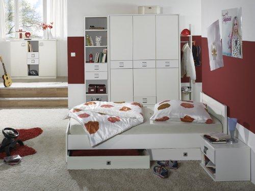 8-tlg Jugendzimmer in weiß Kleiderschrank Sideboard Jugendbett Nachtschrank