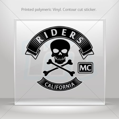 Stickers Decal Riders California MC Decoration Motorbike Racing Garage Store (14 X 13.3 In)
