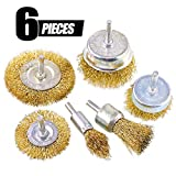 Swpeet 6Pcs Brass Coated Wire Brush Wheel & Cup Brush Set with 1/4-Inch Shank, 6 Sizes Coated Wire Drill Brush Set Perfect For Removal of Rust/Corrosion/Paint - Reduced Wire Breakage and Longer Life