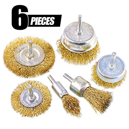 Swpeet 6Pcs Brass Coated Wire Brush Wheel & Cup Brush Set with 1/4-Inch Shank, 6 Sizes Coated Wire Drill Brush Set Perfect For Removal of Rust/Corrosion/Paint - Reduced Wire Breakage and Longer Life - 1 Wire Round Die