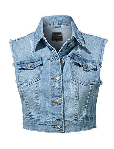 LE3NO Womens Vintage Distressed Ripped Button up Cropped Denim Vest (Denim Vest Vintage)