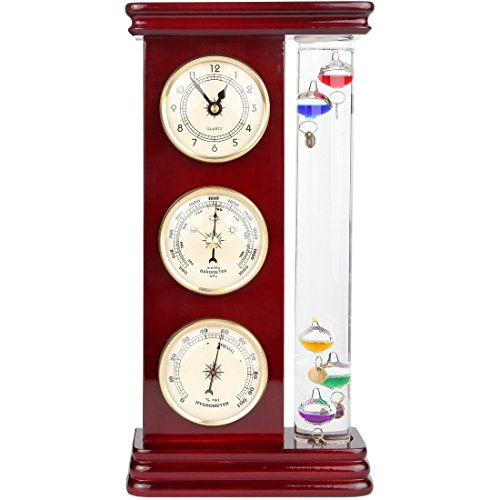 Lily's Home Analog Weather Station, with Galileo Thermometer, a Precision Quartz Clock, and Analog Barometer and Hygrometer, 5 Multi-Colored Spheres (6