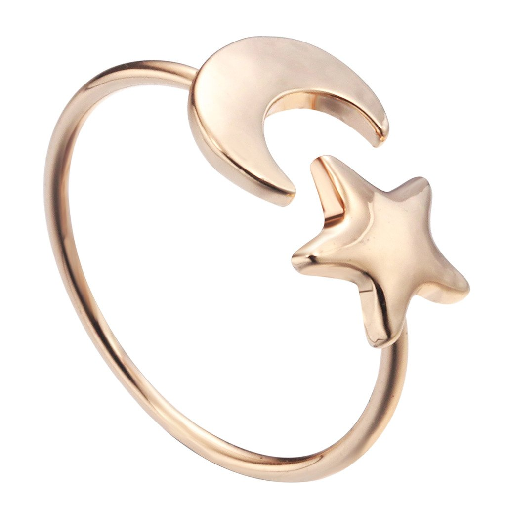 Qiandi Jewelry Crescent Moon and Tiny Star Open Ring Birthday Gift for Women Girls MNJZ00126