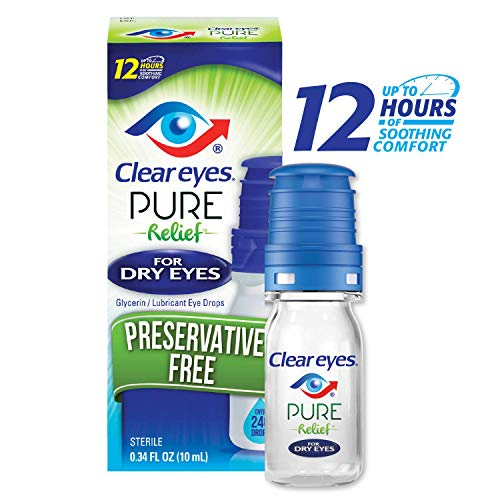Clear Eyes | Pure Relief | Preservative Free Eye Drops | Dry Eyes | 0.34 FL OZ ()