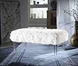 Iconic Home FBH2649-AN Trento Modern Contemporary Faux Fur Acrylic Leg Bench, White For Sale