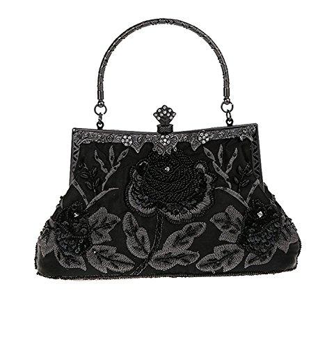 paillettes main mariage Roses Kaever soirée Noir et Style à sac Vintage Femmes de perlé sac sac main main à à pqwZOXq
