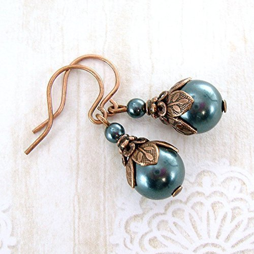Dusky Teal Swarovski Simulated Pearl Earrings with Vintage Victorian Style Antiqued Copper ()