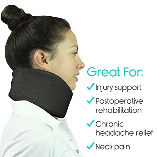 Vive Neck Brace - Cervical Collar - Adjustable Soft Support Collar Can Be Used During Sleep - Wraps Aligns and Stabilizes Vertebrae - Relieves Pain and Pressure in Spine (Black) by VIVE (Image #3)