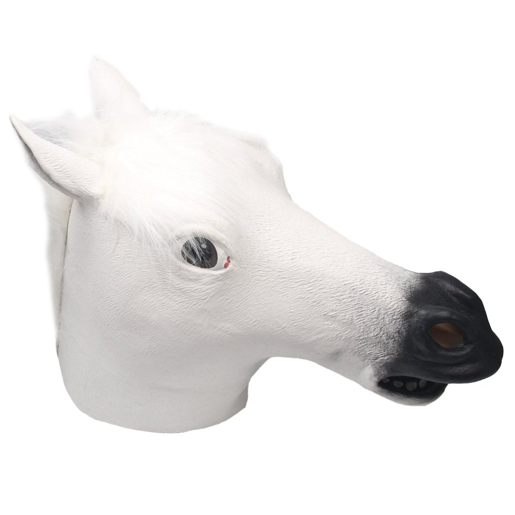 Queenshiny/® Latex Unicorn Head Mask Halloween Cosplay Costume White