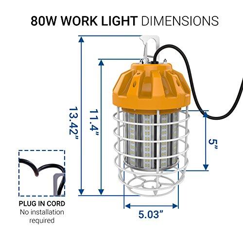 Hyperikon 80W LED Temporary Work Light Fixture, 9600 Lumens, Orange Construction Drop Light, LED High Bay Lighting, UL IP65 Waterproof, 5000K by Hyperikon (Image #6)