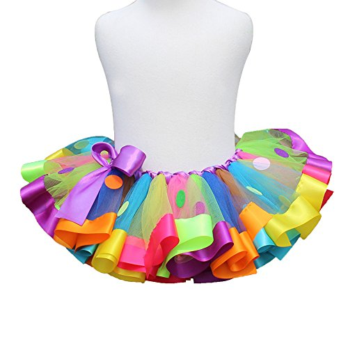 MOLFROA Baby Girls colorful Layered Dance Outdoor Rainbow Tutu Skirt 4T-5Y