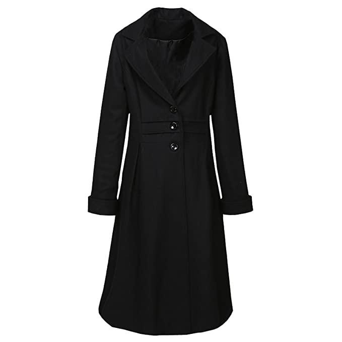 History of 1920s Coats, Furs and Capes  Style Lace Up Back Wool Blend Winter Long Coat Black $79.99 AT vintagedancer.com