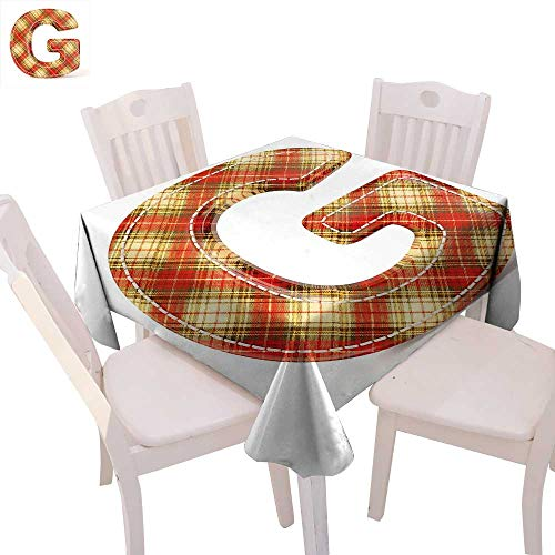 cobeDecor Letter G Washable Tablecloth Uppercase G Character Old Fashioned Checkered Plaid Classical Pattern Waterproof Tablecloths 70