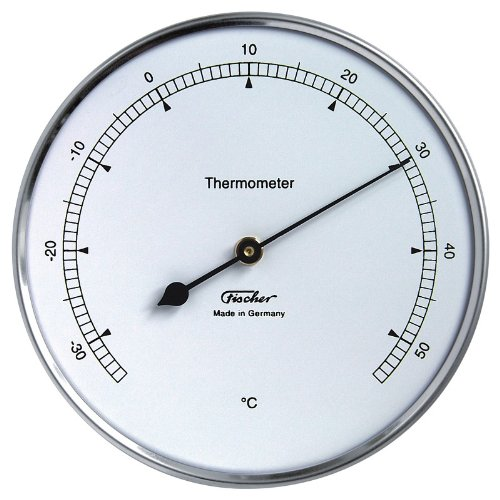 Fischer Precision Thermometer in Stainless Steel Housing / Product from the Ore Mountains