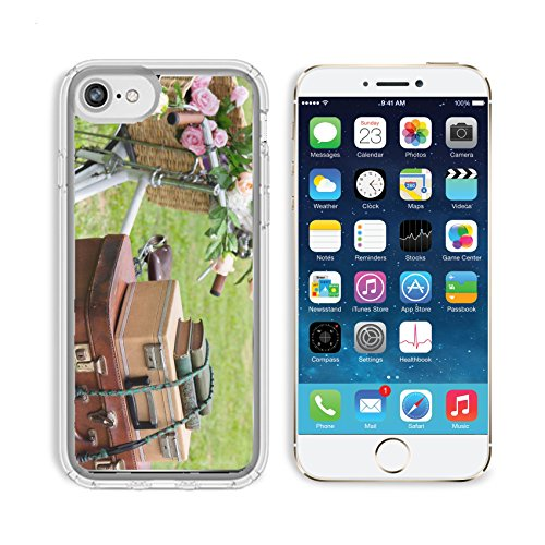 MSD Premium Apple iPhone 6 iPhone 6S Clear case Soft TPU Rubber Silicone Bumper Snap Cases IMAGE ID 20173183 Vintage bicycle on the field with a basket of flowers and bag