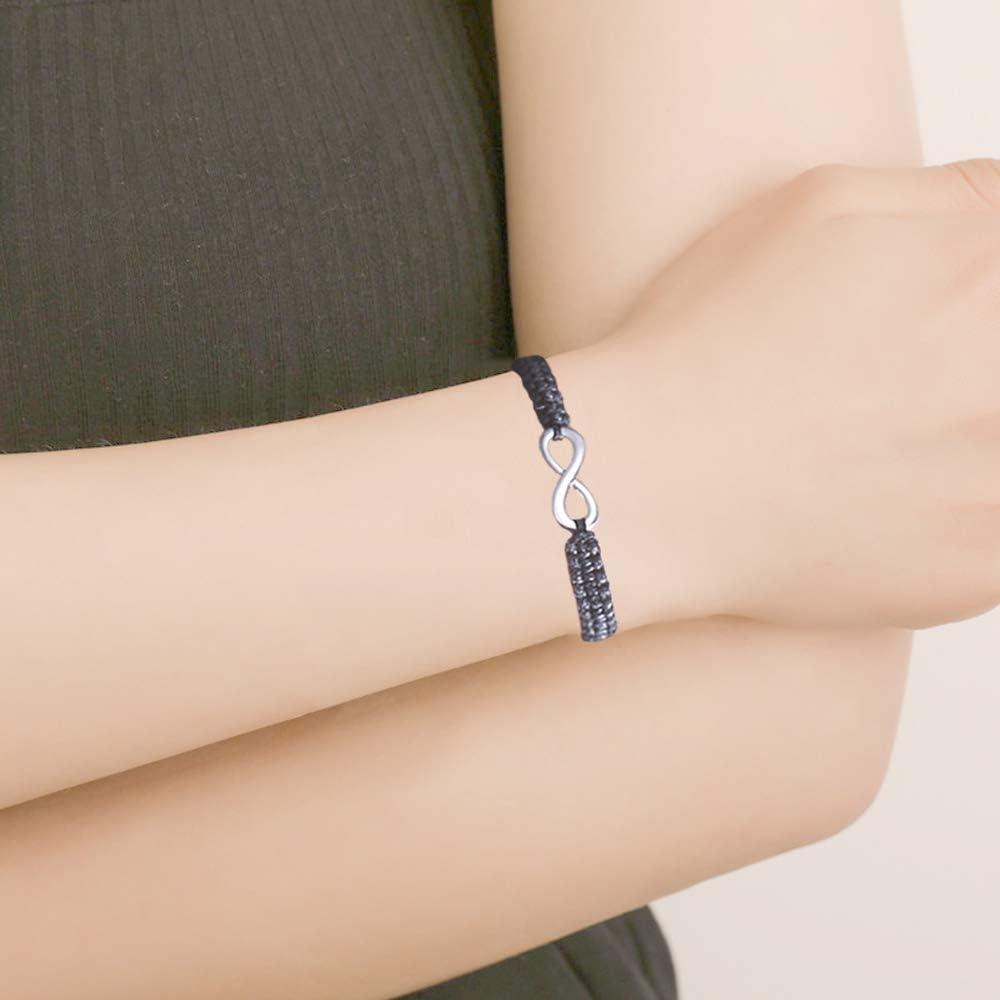 Shuxy 2PCS Infinity Bracelets Luck 8 Bracelet Woven Black Cord Thread Bracelet Braided Rope Bracelets His and Hers Wristband Couple Distance Friendship Adjustable Bracelets Charm Jewelry for Ladies
