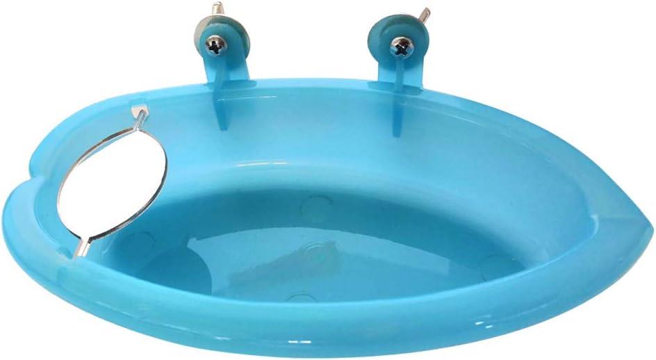 POPETPOP Bañera de plástico para pájaros con Espejo (Azul)