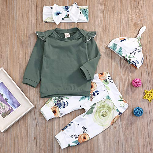 WISWELL Baby Girls Ruffle Shirt Infant Girl Long Sleeve Casual Tops Outfits