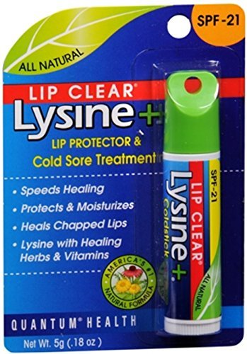 Quantum Lip Clear Lysine+ Lip Protector And Cold Sore Treatment SPF 21 0.18 oz - Buy Packs and SAVE (Pack of 4)