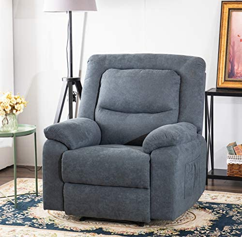 Grepatio Overstuffed Recliner Chair, Electric Recliner with Heat, Massage, USB Port, Thick Padded Armrest and Backrest Ergonomic Sofa for Living Room and Bedroom