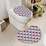 Heart shaped foot pad 2 Pieces Set Tiles Oriental Asian Islamic Indonesian Motifsative Home in Bathroom toilet Mats
