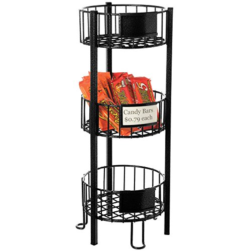 Expressly HUBERT Round Black Wire Countertop 3-Tier Stand - 9''Dia x 21''H by Hubert