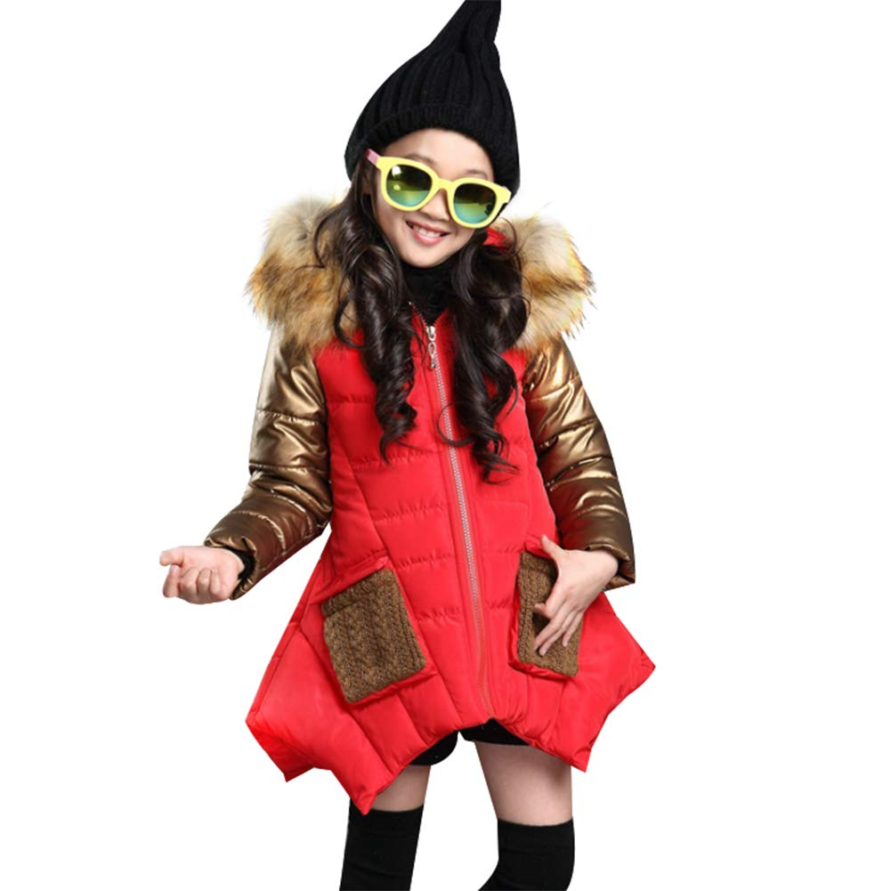 Goodkids Children Girls Padded Overcoat Down Jacket Puffer Outwear Thickened Long Warm Winter Parka with Fur Hood