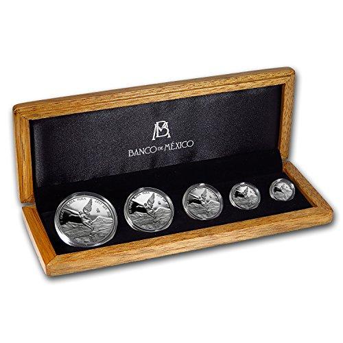 (MX 2017 Mexico 5-Coin Silver Libertad Proof Set (1.9 oz, Wood Box) Brilliant Uncirculated)
