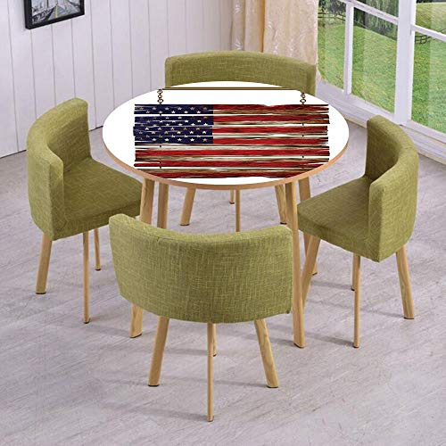 Round Table/Wall/Floor Decal Strikers/Removable/United States Flag Painted Wooden Planks 4th of July Illustration Decorative/for Living Room/Kitchens/Office Decoration -