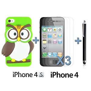 OnlineBestDigital - Owl Style Slim Soft Silicone Case for Apple iPhone 4S / Apple iPhone 4 - Green with 3 Screen Protectors and Stylus
