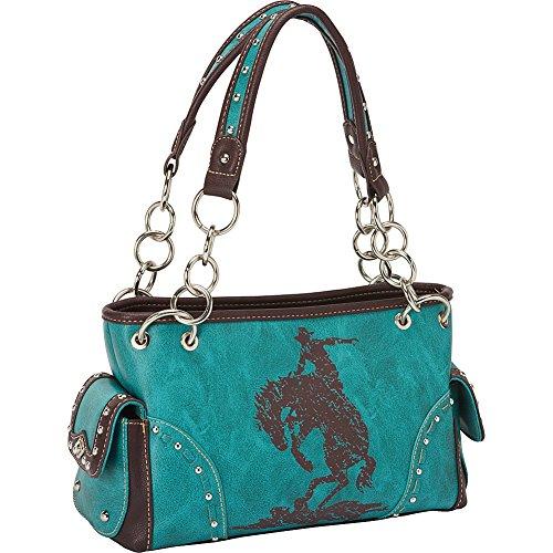 Bck-8085 Montana West Cowgirl Collection Horse Shoulder Bag Handbag (turquoise)