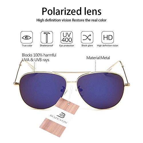 Goggles Métal Mode Soleil De bleu Or Polarisé Punk Miroir En Lunettes Bozevon Vintage Protection Uv400 B6zqcAP