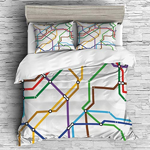 (3 Pieces (1 Duvet Cover 2 Pillow Shams)/All Seasons/Home Comforter Bedding Sets Duvet Cover Sets for Adult Kids/King/Map,Stripes in Vibrant Colors Metro Scheme Subway Stations Abstract Railroad)