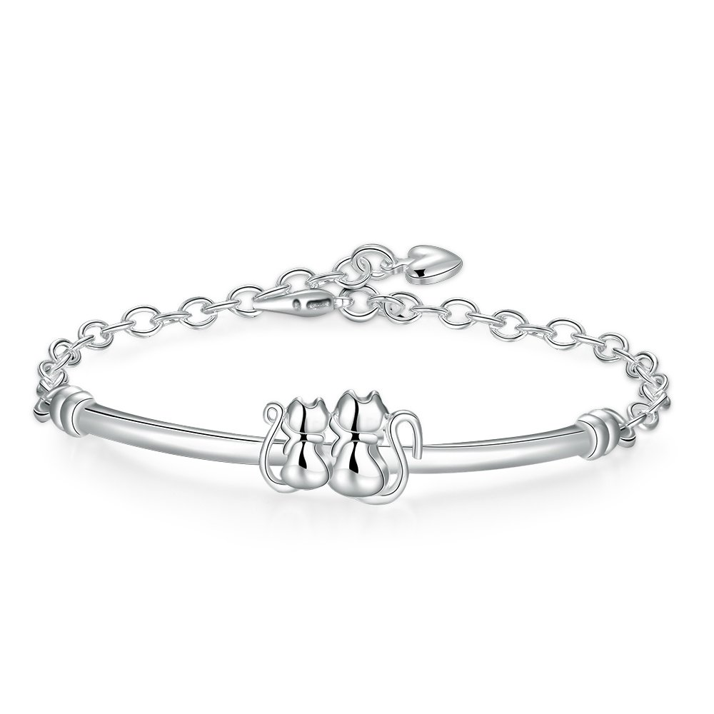 Neevas Fashion Women Lady Silver Plated Chain Cute Couple Cat Bracelet Brangle Gift NV0011