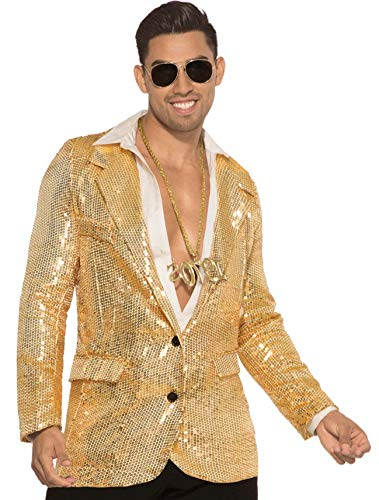 - Forum Novelties 80541 Men's Disco Sequin Blazer-Gold with Pockets, X-Large, White