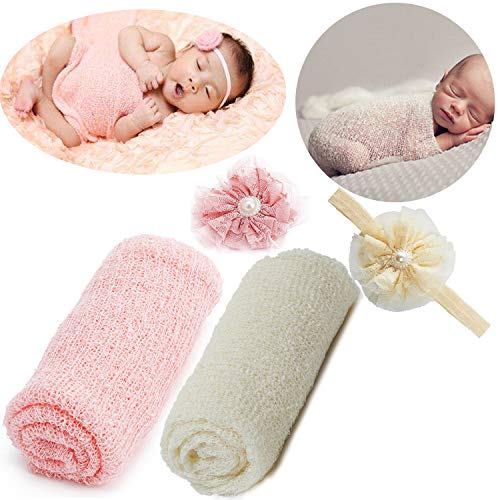 (Newborn Baby Photography Props - Long Ripple Wrap Blanket and Lace Beads Headband (Pink+Beige))