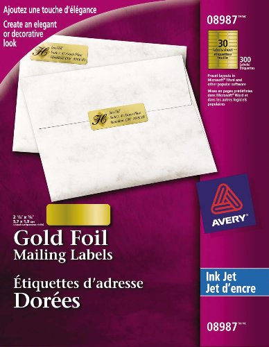 Avery Gold Foil Mailing Labels for Inkjet Printers, 2-5/8 x 3/4, Gold Foil, Rectangle, 300 Labels, Permanent (8987)