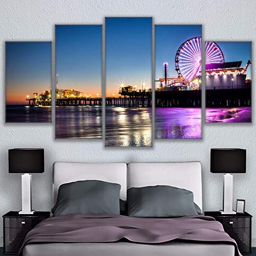 Yyjyxd Canvas Modular Pictures Frame Wall Art 5 Panel Los Angeles City at Night Hd Print Painting Popular Picture for Living Room Decor-16X24/32/40Inch,with -