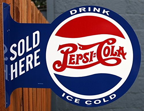 Pepsi Cola Sold Here Double Sided Vintage Style Flange Sign Pepsi Cola Sign