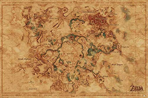 (Pyramid America Zelda Breath of The Wild Hyrule Map Video Game Poster 24x36 Inch)