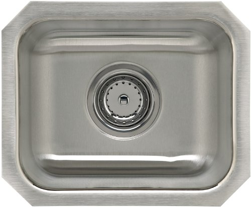 Sterling UCL1515B Springdale 14-inch by 12-inch Under-mount Single Bowl Bar Sink, Stainless Steel