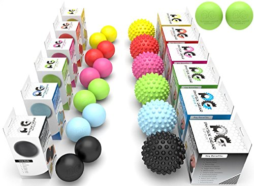 Physix Gear Sport Massage Balls - Best Spiky Ball Roller for Plantar Fasciitis Trigger Points Neck & Back Pain Relief - Deep Tissue Rehab Reflexology Acupressure - Reach Areas Foam Rollers Can't (PNK) (Reach Roller)