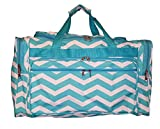 22″ Fashion Multi Pocket Gym Dance Cheer Travel Carry On/Duffle Bag (Blank – Aqua Chevron) Review