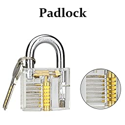 Kuject Practice Lock Set, Transparent Cutaway Crystal Pin Tumbler Keyed Padlock, Lock Picking Practice Tools for Locksmith, Include 3 Common Types of Lock for Lock Pick Set