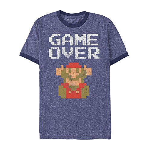 (Nintendo Men's Mario Game Over Heather Royal Blue/Navy Ringer T-Shirt)